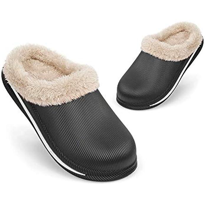 UltraCozy Men's and Women's Winter House Slippers Waterproof Lined Clogs Memory Foam Anti-Skid Sole Warm Slippers,Indoor & Outdoor Fur Fuzzy Lightweight Garden Shoes