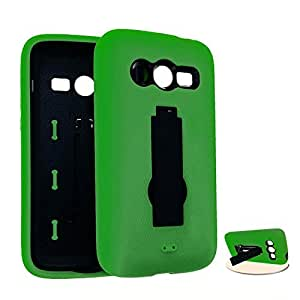 Cell Armor Jelly Case Samsung Galaxy Avant, G386T Double Layer Case Cover, Locking Kick Stand (Green, Black) Metro Pcs, T-Mobile by runtopwell