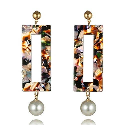Womens Girls Pearl Amber Long Tassel Dangle Earrings Fringe Drop Earring Anniversary Engagement Party Wedding Gift Fashion Jewelry (A) ()
