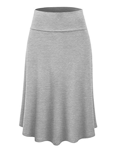 (Lock and Love LL WB1105 Womens Lightweight Fold Over Flared Midi Skirt XL)