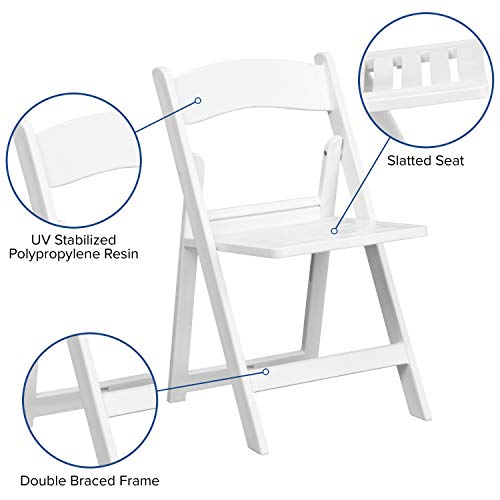 4 Pk. HERCULES Series 1000 lb. Capacity White Resin Folding Chair with Slatted Seat
