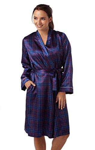 Señoras satén Kimono comprobar Wrap. Rojo o Azul Marino. Tamaños 1012141618 Rosso