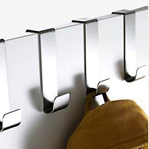 Stainless Steel Over Door Hooks Home Kitchen Cupboard Cabinet Towel Coat Hat Bag Clothes Hanger Holder Organizer Rack (8pcs) (Cupboard Door Towel Rack compare prices)