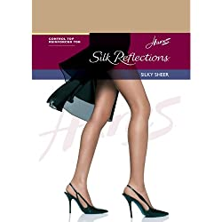 Hanes Womens Set of 3 Silk Reflections Control Top RT Pantyhose, C/D, Natural