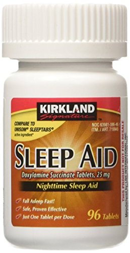 Kirkland Signature Sleep Aid Doxylamine Succinate 25 Mg  96 Count  1 Bottle  Nighttime Sleep Aid
