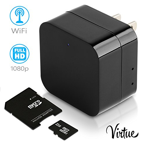 Mini Wi-Fi Hidden Camera-Wireless USB Camera Charger-Security Spy Camera Monitor System For Home 1080p-Motion Detection-Remote Viewing-Camera Kit with 32 Gb Micro SD Card by Virtue (Wireless Battery Webcam)