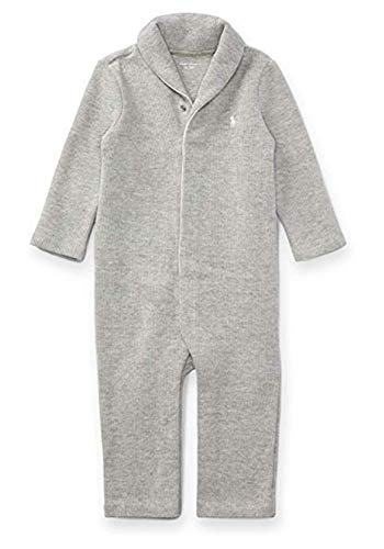 Ralph Lauren Baby Boys Shawl-Collar French-Rib Cotton Coverall 9 Months - Ribs French