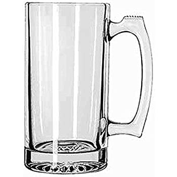 """SUPER LARGE 7"""" TALL X 3.5"""" WIDE GLASS STEIN / MUG, 2.5 POUND, HEAVY-DUTY 24 OUNCE THICK CLEAR GLASS HOT/COLD DRINKING STEIN MUG CUP TUMBLER. USE FOR BEVERAGES LIKE COFFEE, TEA, BEER, WATER, SODA, ETC."""
