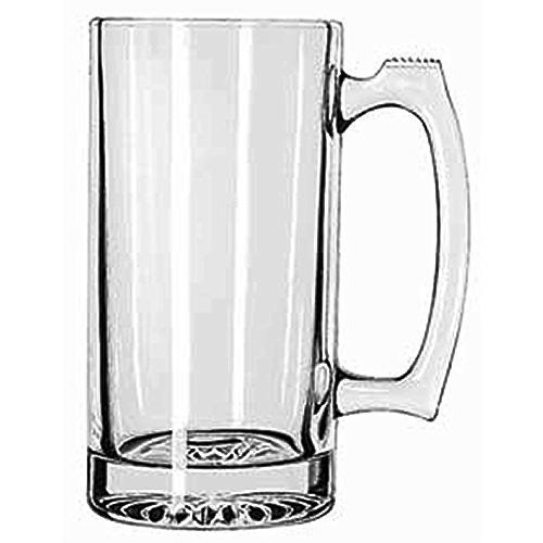 SUPER LARGE 7' TALL X 3.5' WIDE GLASS STEIN / MUG, 2.5 POUND, HEAVY-DUTY 24 OUNCE THICK CLEAR GLASS HOT/COLD DRINKING STEIN MUG CUP TUMBLER. USE FOR BEVERAGES LIKE COFFEE, TEA, BEER, WATER, SODA, ETC.