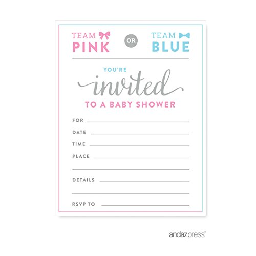 Andaz Press Team Pink Team Blue Gender Reveal Baby Shower Party, Blank Invitations, 20-pack (Team Colors Personalized Invitations)