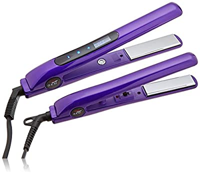 CHI Smart Gemz Volumizing Zironium Titanium 1 Inch Amethyst Metallic Foil Hairstyling Iron with 3/4 Inch Travel Iron, Hair Clips and Thermal Pouch