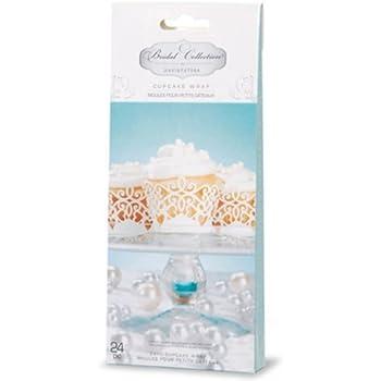 David Tutera 24 White Laser Cut White Paper Cupcake Wrappers Wedding