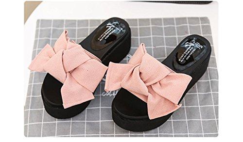 Mujer Sandalia de Cuña Bowknot Plataforma Verano Playa Slip on Plana Zapatos Tacon 6cm Negro Verde Rosado Rojo 35-39 Rosado