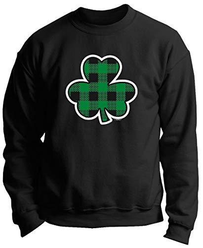 St Paddys Day Costume Ireland Apparel Lucky Irish Gift Buffalo Plaid Shamrock St Pats Day Premium Crewneck Sweatshirt Medium Black ()