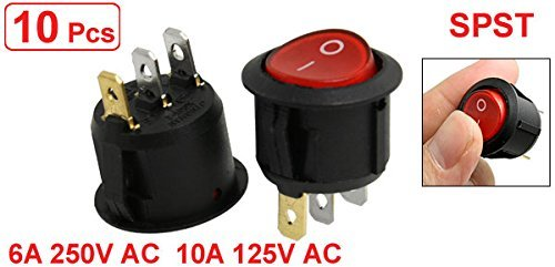 eDealMax a11123000ux0223 Iluminado ON-Off del interruptor unipolar Ronda de balancín, 6 Amp / 250V 10 Amp / 125V AC, 10 Piezas, Rojo