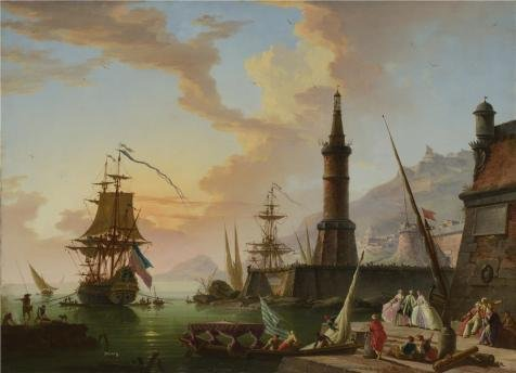 18th Century Wallpaper - Oil Painting 'Claude-Joseph Vernet - A Seaport,later 18th Century' Printing On Perfect Effect Canvas , 10x14 Inch / 25x35 Cm ,the Best Game Room Artwork And Home Decor And Gifts Is This Replica Art DecorativeCanvas Prints