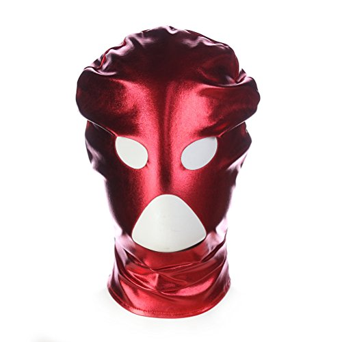 LUOEM Halloween Mask Breathable Open Eyes Open Mouth Face Cover Blindfold Mask Cosplay Costume Hood Unisex Headgear Halloween Costumes (Red)