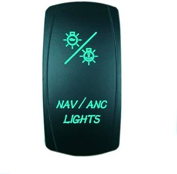 Laser Red Rocker Switch NAV//ANC ON//OFF LED Light 12v Dash Accessories