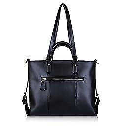 Kattee Urban Style 3-Way Women\'s Genuine Leather Shoulder Tote Bag, Black