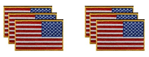 PACK of 6 United States Right Hand Flag Patches 3.50