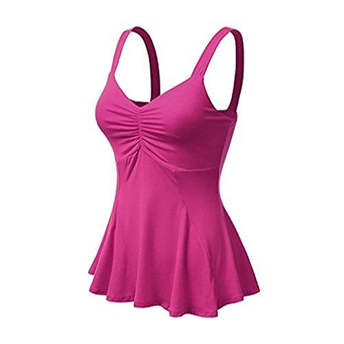 Scollo Unita Scollo Rosso Multi T Donna A con Plus Maniche Casual Maniche Shirt junkai Color Shirt Tinta T A Size V Basic Senza A Canotta xOz50w