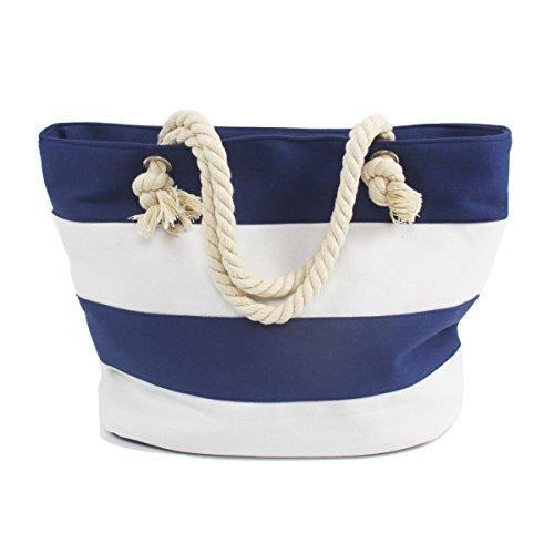 AmyHomie Beach Bag Canvas Tote ,Zipper Pocket and mesh beach bags (White Blue (Rope Stripe)
