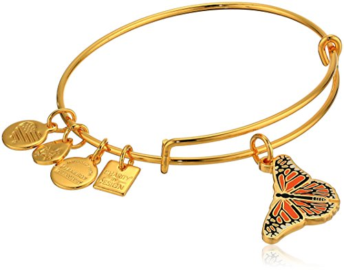 Alex and Ani Women's Charity by Design, Monarch Butterfly Charm Bangle Bracelet, Shiny Gold, Expandable