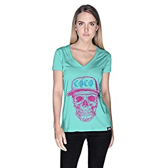 Creo Pink Blue Coco Skull T-Shirt For Women - L, Green