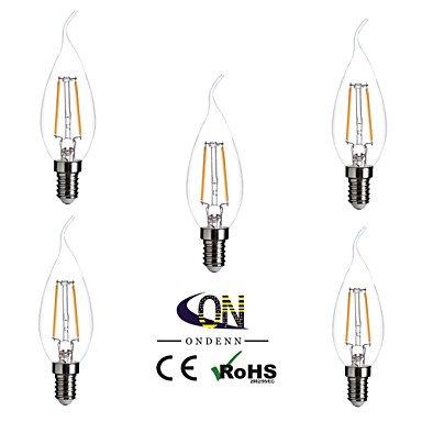 RTS 5 unidades ondenn E12 2 COB 200 lm Blanco Cálido CA35 Edison Vintage LED Bombillas AC 110 - 130 V: Amazon.es: Iluminación