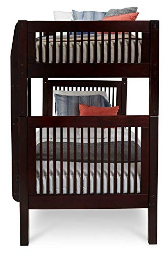 (Camaflexi Panel Style Solid Wood Bunk Bed, Twin-Over-Twin, Side Attached Ladder, Cappuccino)