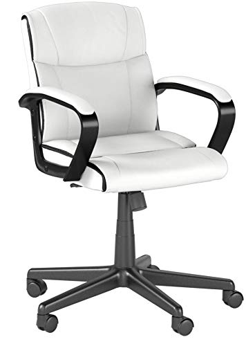 AmazonBasics Classic Leather-Padded Mid-Back Office Chair with Armrest - White by AmazonBasics (Image #8)