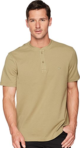 Lacoste Men's Short Sleeve Henley Waffle Stitch Regular Fit T-Shirt, TH3234, Aloe, (Lacoste Cotton Henley)