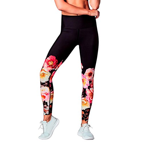 54c82f871be Goodtrade8 Women Juniors Yoga Pants Floral Print Jogger Workout Leggings  Control Sport Running Athletic Stretch Leggings High Waist Pants Fitness  Trousers ...
