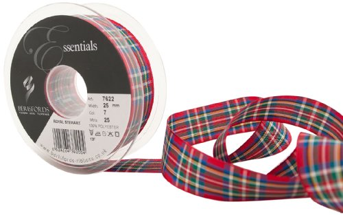 (Berisfords 7622 25 m x 25 mm Traditional Tartan Ribbon, Royal Stewart by Berisfords)