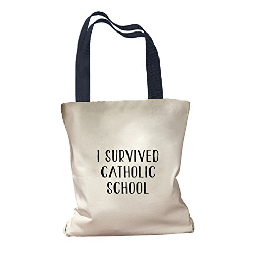 I Survived Catholic School Canvas Colored Handles Tote Bag - Navy by Style in Print