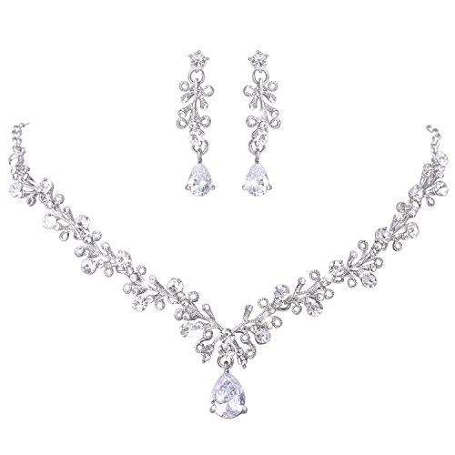 LILIE&WHITE Clear Crystal and Cubic Zircon Necklace and Earrings Jewelry Set For Women Wedding (Necklace Zircon White)