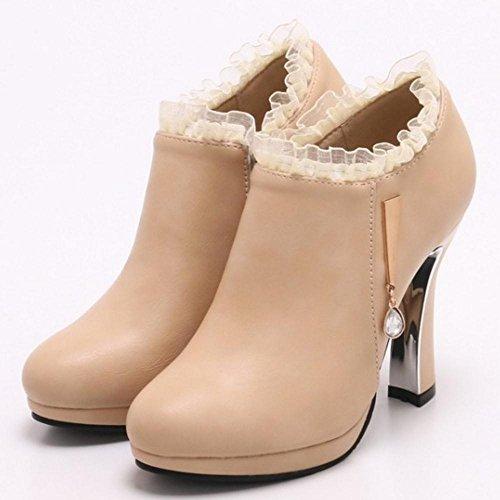 COOLCEPT Women High Heel Short Boots Beige TEsOFKydYu