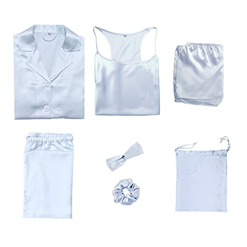 LilySilk 7pcs 22 Momme Silk Pajamas Set Hair Band Tie Travel Bag Light Sky Blue M/8-10 by LilySilk