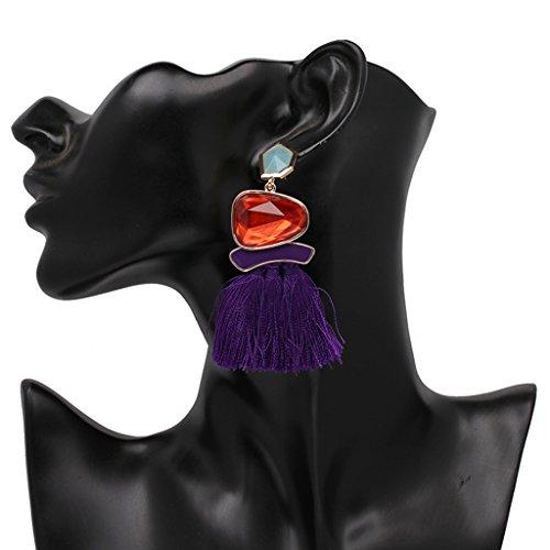Women earring ,NNDA CO Fashion Rope Gem Long Tassel Drop Earrings Statement Ethnic Fringe Party Jewelry,Metal,Tassel (purple) (Earrings Drop Rope)