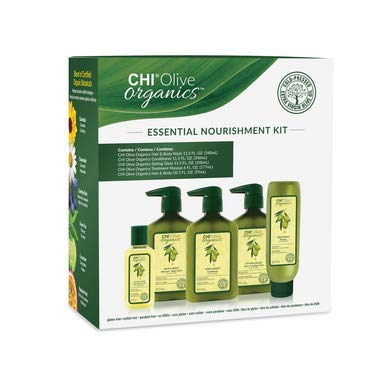 Olive Organics Essential Hair Nourishing Kit - Shampoo, Conditioner, Masque, Glaze, Oil