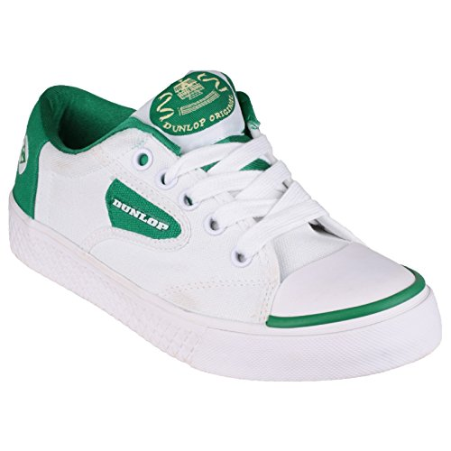 Boys Junior Dunlop DU1555 Green Flash Lace Up Rubber Sole UK 7 7.5 8 8.5 9 9.5 Blanco