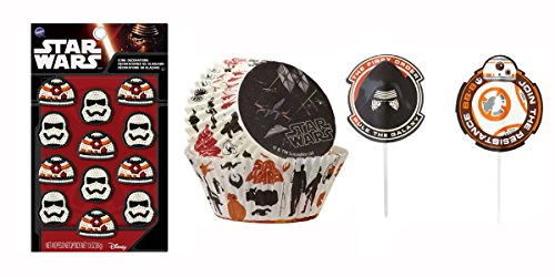 Wilton - Star Wars Collection, Birthday Party Cupcake Decoration Combo Pack. Includes Cake Toppers, Icing Decorations, and Cupcake Baking Cups