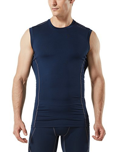 TM-MUA05-NVY_Small Tesla Men's R Neck Sleeveless Muscle Tank Dry Compression Baselayer MUA05