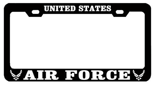 UNITED STATES AIR FORCE Auto License Plate Frame Tag Metal, Weatherproof Vinyl Letters Black White