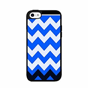 Assorted Blue Chevron - Phone Case Back Cover (iPhone 4 4s - TPU Rubber Silicone) includes BleuReign(TM) Cloth and Warranty Label