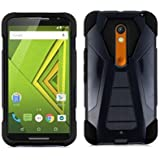 Motorola Moto X Play, LF 3 in 1 Bundle, Hybrid Dual Layer Heavy Duty Case with Stand, Stylus Pen & Wiper Accessory (Stand Black)