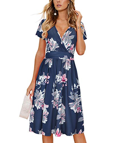 OUGES Women's Summer Short Sleeve V-Neck Pattern Knee Length Dress with Pockets(Floral05,S)