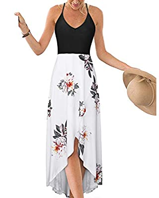 KILIG Women's V Neck Sleeveless Summer Asymmetrical Patchwork Floral Maxi Dresses