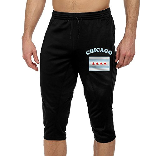 Cropped Ttttrousers Mens Flag Of Chicago Joggers Capri Pants Elastic Waist Gym Shorts - Flag Chicago Shorts