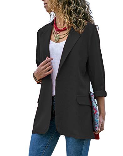 Asskdan Womens Ladies Open Front Long Sleeve Work Office Blazer Jacket Cardigan Casual Basic OL Blazer Suit (Black, Large)